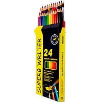 Карандаши цветные акварельные MARCO 24 цвета №4120-24CB superb writer  + кисть