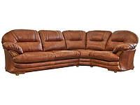 Кожаный угловой диван для гостиной Нью-Йорк, коричневый (223 см)