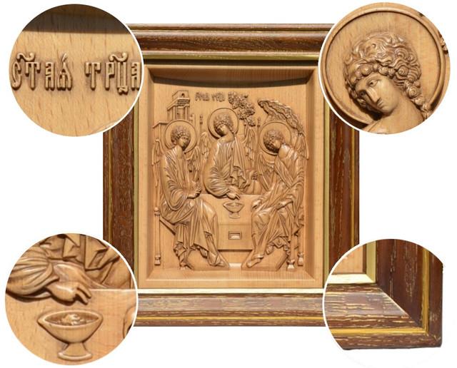 икона резная деревянная  святая троица рублева