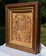 Икона деревянная резная Святая Троица, фото 1