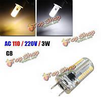 G8 диммерами LED лампы 3w SMD 3014 80 Clear белый/теплый белый силиконовый свет лампы переменного тока 110В/220В