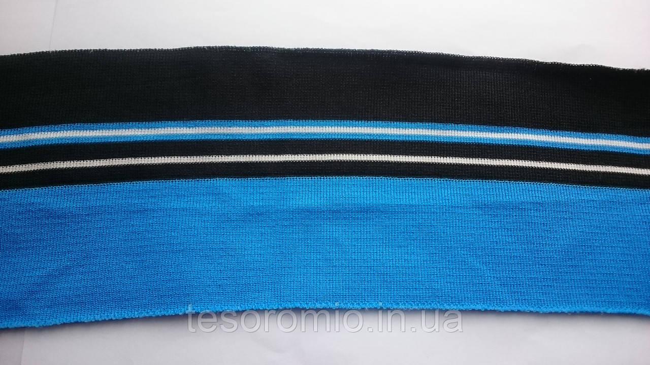 Довяз трикотажний #56. Чорний з синім і смужками. Довжина 80см, ширина 10 див.