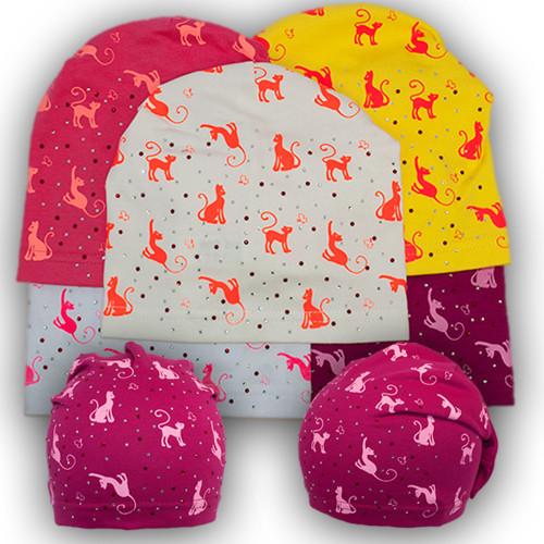 Трикотажная шапка с принтом и защипом для девочки, BSK 72