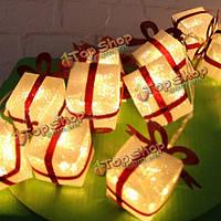 2м 10 LED Рождественский подарок коробка участник свет строка светящиеся Рождество праздничное оформление