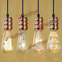 E27 свет гнездо бронзы современный владелец просто ретро потолок подвесной светильник с 1м проволоки 90В-240В