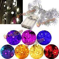 2.5M 20 LED Battery Powered Double-Deck Lotus Flower String Fairy Light Xmas Wedding Party Decor