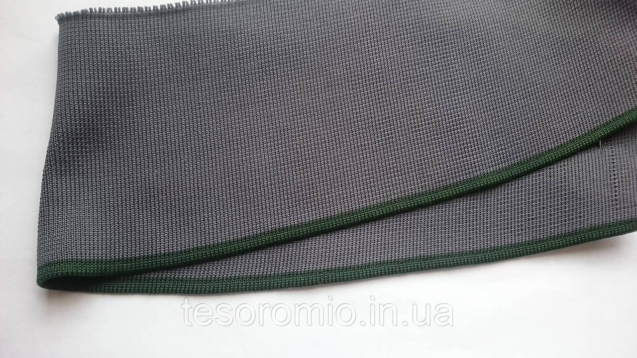 Довяз-воротник #33. Серый с зелёной полоской. Длина 39 см, ширина 9,5 см.