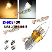 E27/E14/E12/B22/B15 6 Вт LED теплый белый/белый 25SMD 2835 золотой свечи лампы накаливания 85-265 света