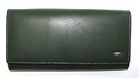 Вместительный кошелек женский темно-зеленый