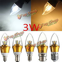 E27/E14/E12/B22/B15 3W LED теплый белый/белый 15SMD 2835 золотой свечи лампы накаливания 85-265 света