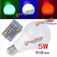 E27 5w RGB 16 цвет LED глобус луковицы света RGB LED с 24key rmote управления переменного тока 85-265