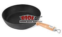 Сковорода чугунная (сотейник) 28х6см с деревянной ручкой ЭКОЛИТ (Украина)
