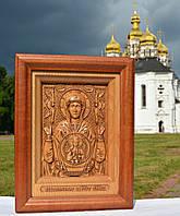 Резная деревянная икона Знамение Пресвятой Богородицы