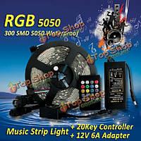 5м RGB водонепроницаемый 300 SMD 5050 LED полосы света 20key музыка контроллер +12 6а адаптер