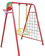Детские качели для улицы 4 в 1 (баскетбольное кольцо+ гладиаторская сетка+дартс)., фото 1