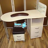 Комплект, универсальный стол для маникюра+пуф мастера+подкова