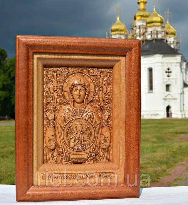 икона резная из дерева знамение