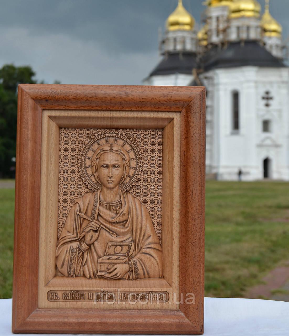 Резная деревянная икона Св Великомученика и целителя Пантелеймона
