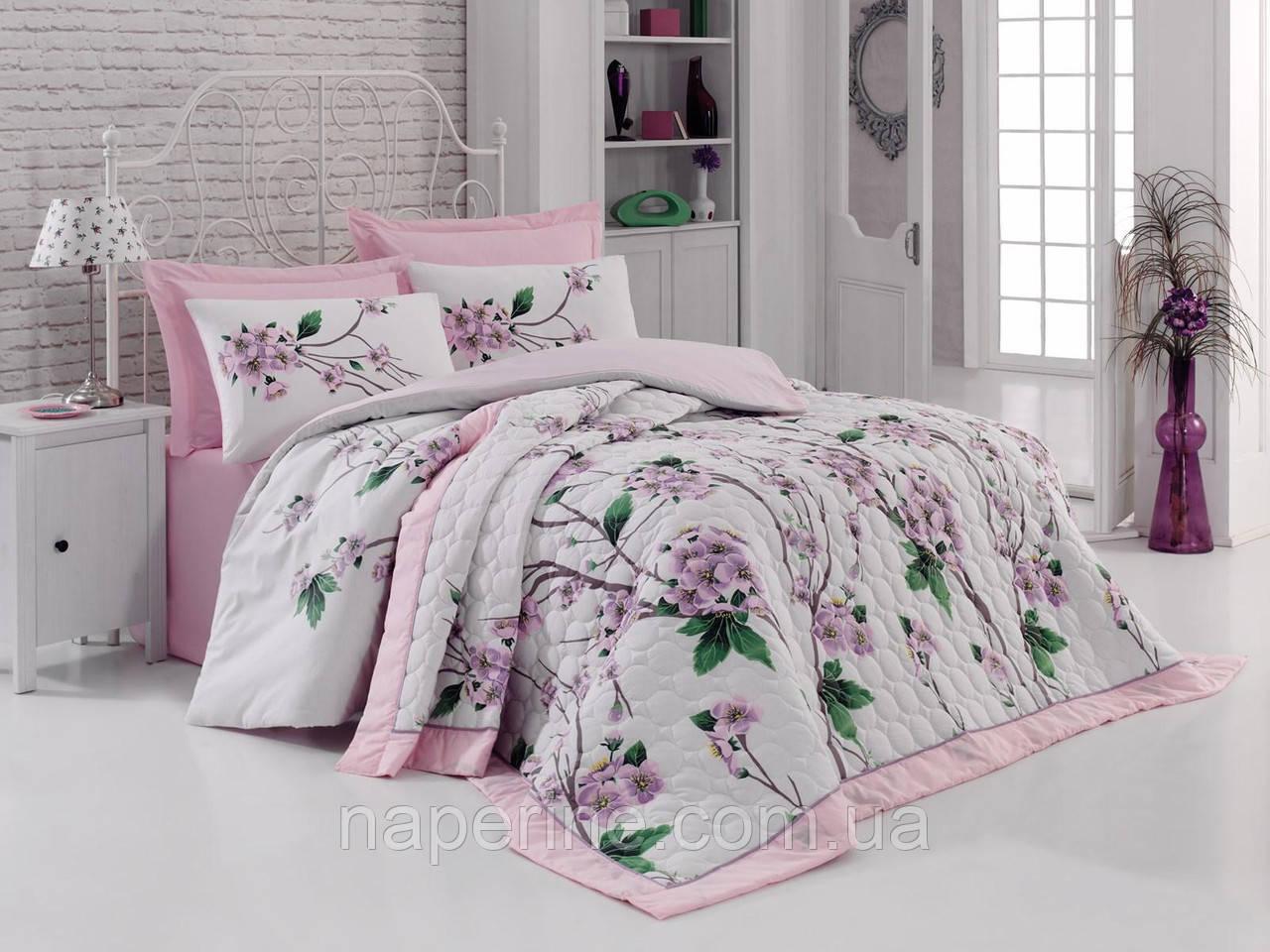 Постельное бельё полуторное  со стёганым летним одеялом Cotton box Pamela