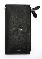 Кожаный кошелек-клатч женский черный на замочке