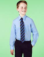 Школьная рубашка голубая длинный рукав на мальчика 11 лет Easy to Iron Marks&Spencer (Англия)