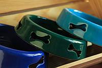Миска керамическая для животных с резкой косточка.