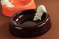 Миска керамическая для животных с лепкой Мышка.