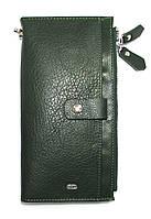 Кожаный кошелек-клатч женский с ручкой