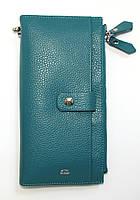 Кожаный кошелек-клатч женский с ручкой на замочке
