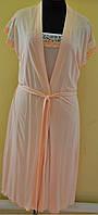 Комплект ночной сорочка и халат из  ткани вискоза Эрика фасон  в размерах 42, 44, 46, 48, 50, 52  цвет персик