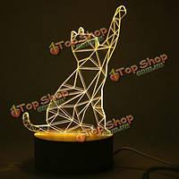 Creative 3D конструкция формы кошка деревянная основа LED Настольная лампа на день рождения настоящий праздник дар