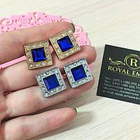 """Запонки """"Куб"""". С синим кристаллом и красивой отделкой."""