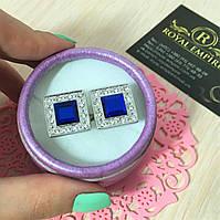 """Запонки """"Куб"""". С синим кристаллом и красивой отделкой. Нержавеющая сталь, Эмаль, Унисекс, Классический, Запонки, Симметричные, серебристый"""