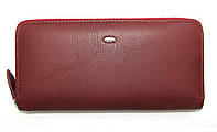 Кожаный кошелек-клатч женский бордового цвета