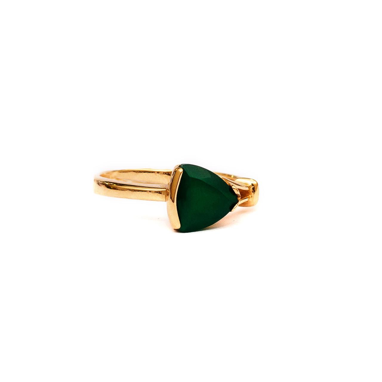 Золотое кольцо с зеленым ониксом 121703