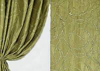 """Ткань портьерная """"Респект"""" зеленая"""