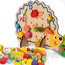 Деревянная игрушка шнуровка дерево ежик