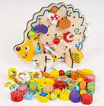 Деревянная игрушка шнуровка дерево ежик, фото 3