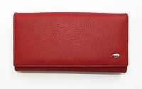 Красный кожаный кошелек женский большой