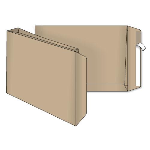 Конверт С4 (0+0) с расширением крафт самоклеющийся с силиконовой лентой