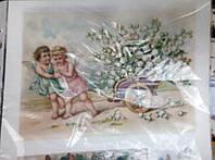 """Вафельная картинка """"Ангелочки с цветами """""""