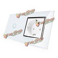 Сенсорный выключатель livolo стекло белый с ЕС розетки осветительная Лампа VL-c701-11/вл-c7c1eu-11