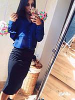 Блузка женская темно-синяя из дорогого шифона ОИ/-268