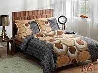 Семейный комплект постельного белья TAC DELUX-SATIN ASPEN V01 коричневый