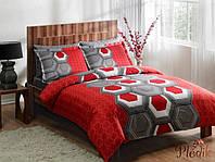 Семейный комплект постельного белья TAC DELUX-SATIN ASPEN V04 красный