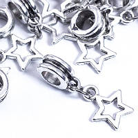 Бусины Пандора с Кулоном, Шармы Звезда, Металл, Цвет: Античное серебро, Размер: 23х10мм, Отв. 5мм, (УТ0028932)