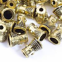 Конус Шапочки для Бусин, Металлические, Цвет: Античное Золото, Размер: 8х6х6мм, Отверстие 2мм, (УТ0029204)