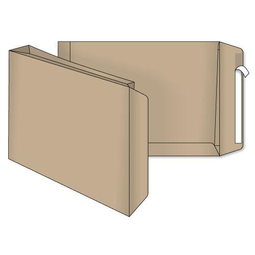 Конверт Е4 (0+0) срасширением крафт самоклеющийся с силиконовой лентой