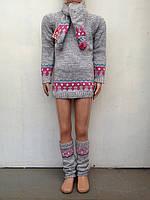Комплект тройка  для девочек Туника+шарф+гетры