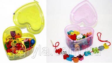 Деревянные бусины  Шнуровка в чемодане - зверюшки, овощи - Деревянная игрушка, фото 3